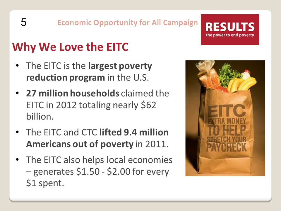 6 Economic Opportunity for All Campaign Child Tax Credit Designed to offset expenses of raising children $1,000 per child (under 17) Must earn at least $3,000 to claim the credit Partially refundable credit for low (not fully refundable like EITC ) CTC is largest tax provision benefitting families with children.