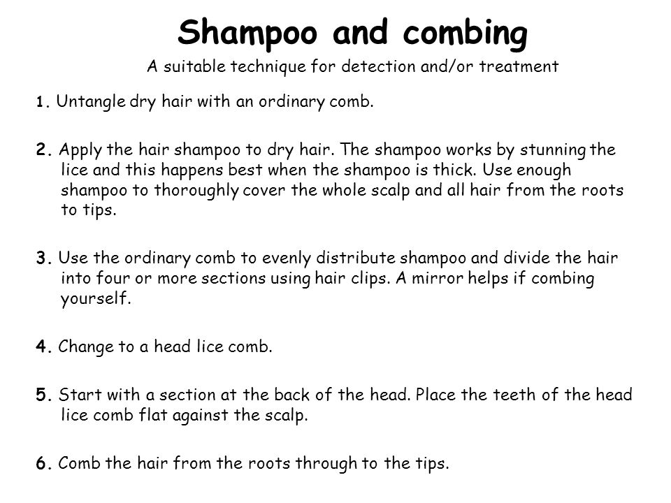 Shampoo and combing 1. Untangle dry hair with an ordinary comb. 2. Apply the hair shampoo to dry hair. The shampoo works by stunning the lice and this