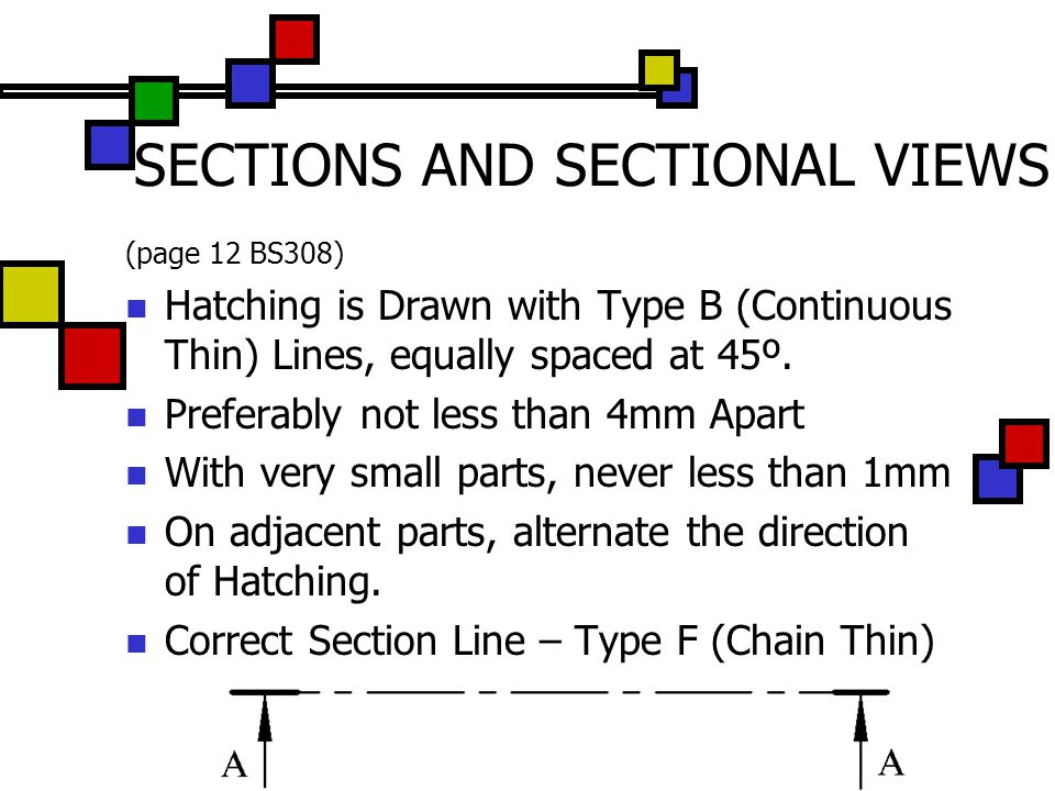 SECTIONS AND SECTIONAL VIEWS (page 12 BS308) Hatching is Drawn with Type B (Continuous Thin) Lines, equally spaced at 45º. Preferably not less than 4m
