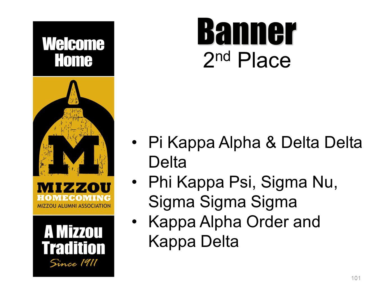 101 Banner 2 nd Place Pi Kappa Alpha & Delta Delta Delta Phi Kappa Psi, Sigma Nu, Sigma Sigma Sigma Kappa Alpha Order and Kappa Delta