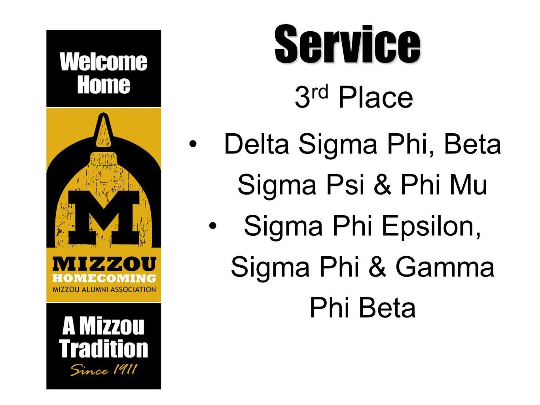 Service 3 rd Place Delta Sigma Phi, Beta Sigma Psi & Phi Mu Sigma Phi Epsilon, Sigma Phi & Gamma Phi Beta