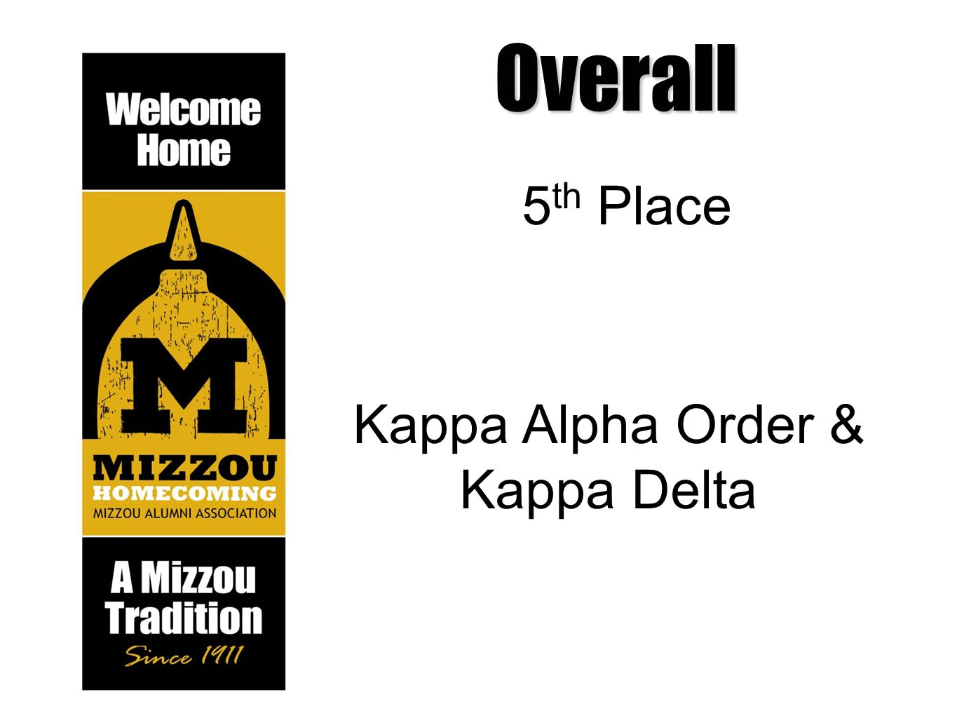 Overall 5 th Place Kappa Alpha Order & Kappa Delta