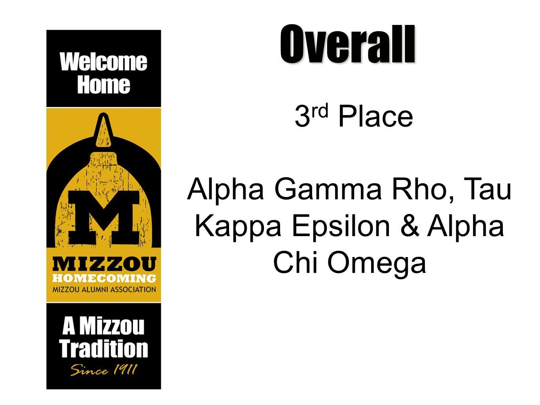 Overall 3 rd Place Alpha Gamma Rho, Tau Kappa Epsilon & Alpha Chi Omega