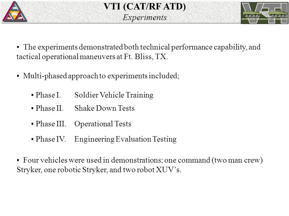 VTI (CAT/RF ATD) Experiments The experiments demonstrated both technical performance capability, and tactical operational maneuvers at Ft.