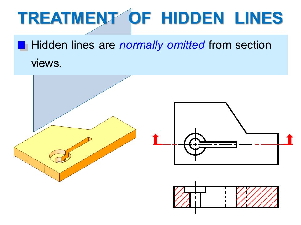 TREATMENT OF HIDDEN LINES Hidden lines are normally omitted from section views.