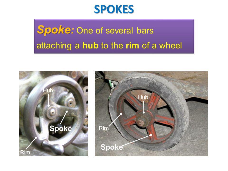 Rim Spoke : Spoke : One of several bars attaching a hub to the rim of a wheel Spoke Rim Hub SPOKES