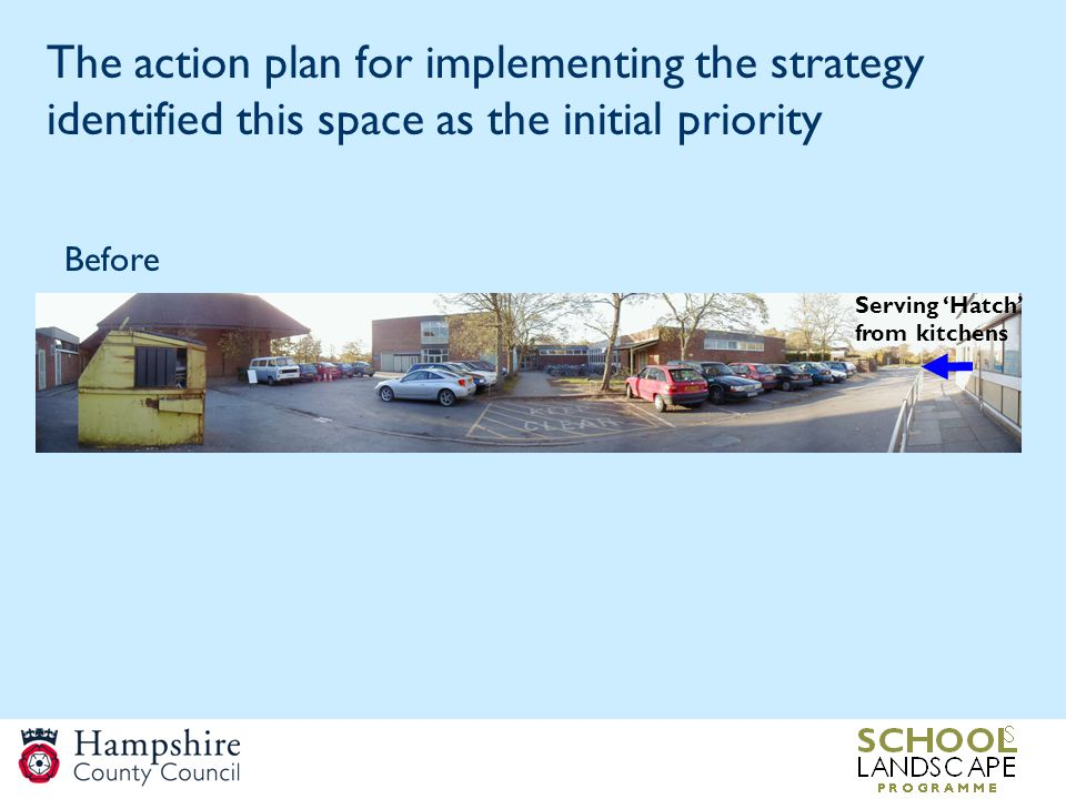 The action plan for implementing the strategy identified this space as the initial priority Serving 'Hatch' from kitchens Before