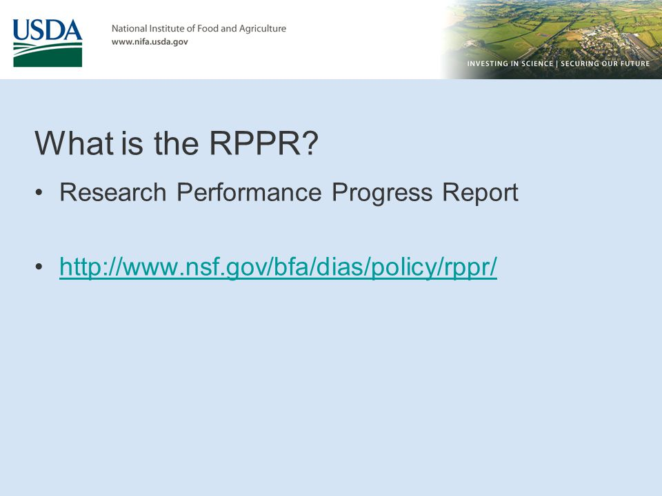 What is the RPPR? Research Performance Progress Report http://www.nsf.gov/bfa/dias/policy/rppr/