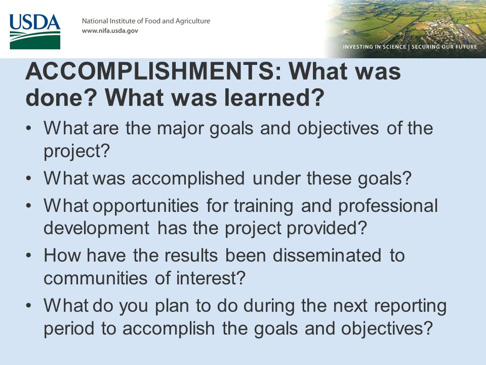 ACCOMPLISHMENTS: What was done? What was learned? What are the major goals and objectives of the project? What was accomplished under these goals? Wha