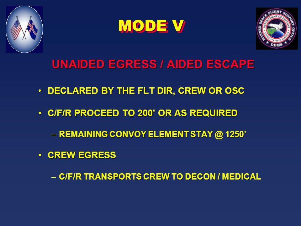 MODE I-IV - LAUNCH PAD EMERGENCIESMODE I-IV - LAUNCH PAD EMERGENCIES MODE V - UNAIDED EGRESS / AIDED ESCAPEMODE V - UNAIDED EGRESS / AIDED ESCAPE MODE