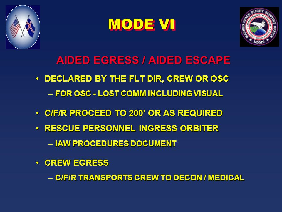 UNAIDED EGRESS / AIDED ESCAPE DECLARED BY THE FLT DIR, CREW OR OSCDECLARED BY THE FLT DIR, CREW OR OSC C/F/R PROCEED TO 200' OR AS REQUIREDC/F/R PROCEED TO 200' OR AS REQUIRED –REMAINING CONVOY ELEMENT STAY @ 1250' CREW EGRESSCREW EGRESS –C/F/R TRANSPORTS CREW TO DECON / MEDICAL MODE V