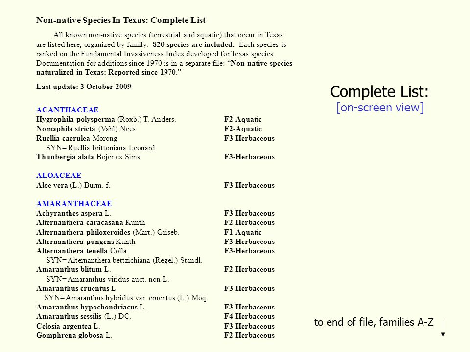 Complete List: [on-screen view] Non-native Species In Texas: Complete List All known non-native species (terrestrial and aquatic) that occur in Texas are listed here, organized by family.