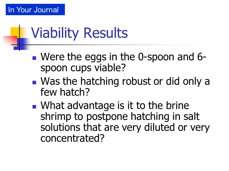 Viability Results Were the eggs in the 0-spoon and 6- spoon cups viable? Was the hatching robust or did only a few hatch? What advantage is it to the