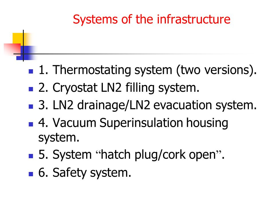 Systems of the infrastructure 1. Thermostating system (two versions).