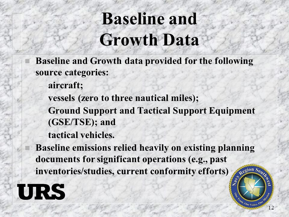 12 Baseline and Growth Data n Baseline and Growth data provided for the following source categories: – aircraft; – vessels (zero to three nautical miles); – Ground Support and Tactical Support Equipment (GSE/TSE); and – tactical vehicles.