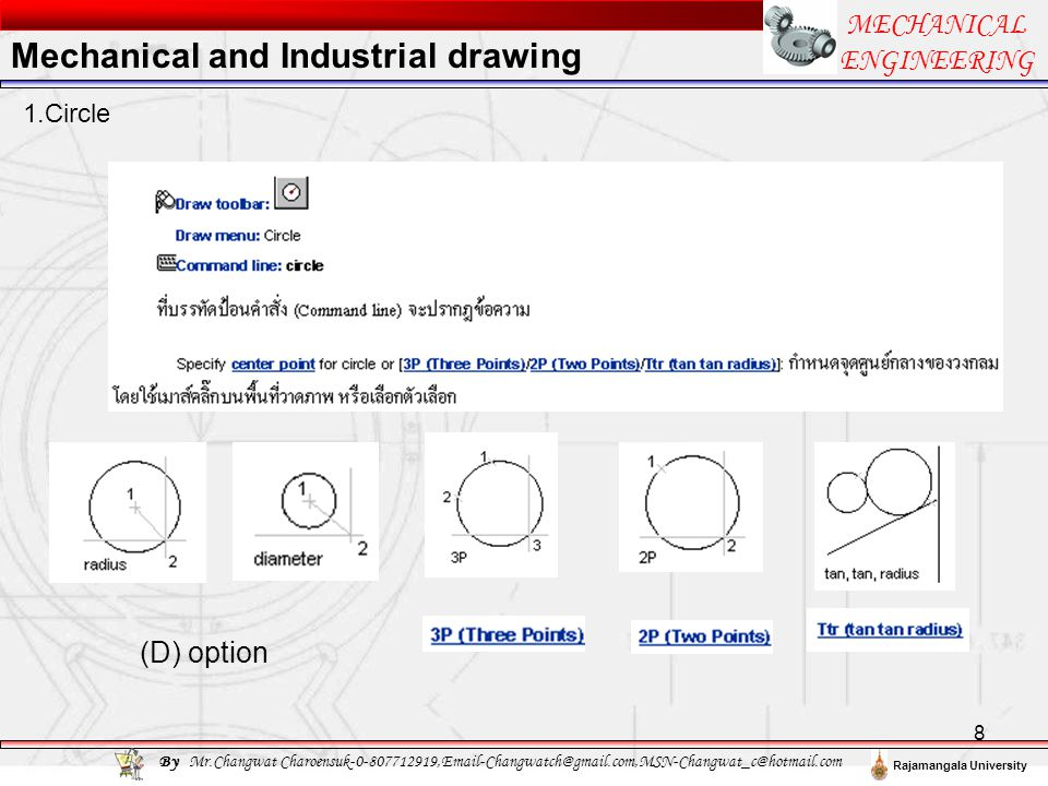 19 MECHANICAL ENGINEERING By Mr.Changwat Charoensuk-0-807712919,Email-Changwatch@gmail.com,MSN-Changwat_c@hotmail.com Rajamangala University 5.Example Mechanical and Industrial drawing