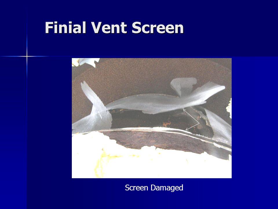 Finial Vent Screen Screen Damaged