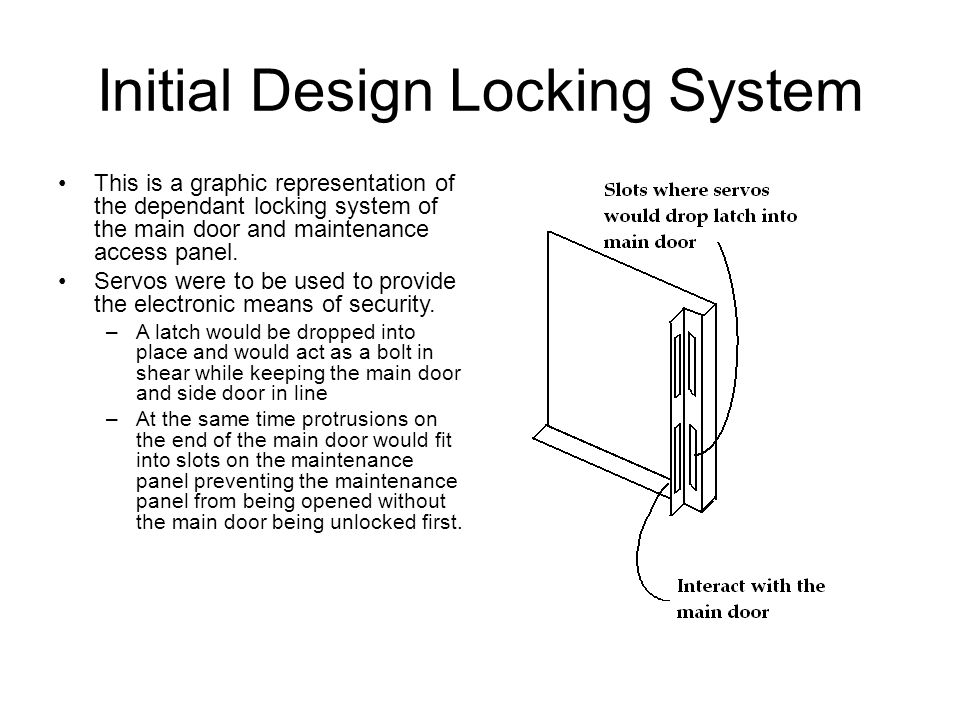 Initial Design Locking System This is a graphic representation of the dependant locking system of the main door and maintenance access panel. Servos w