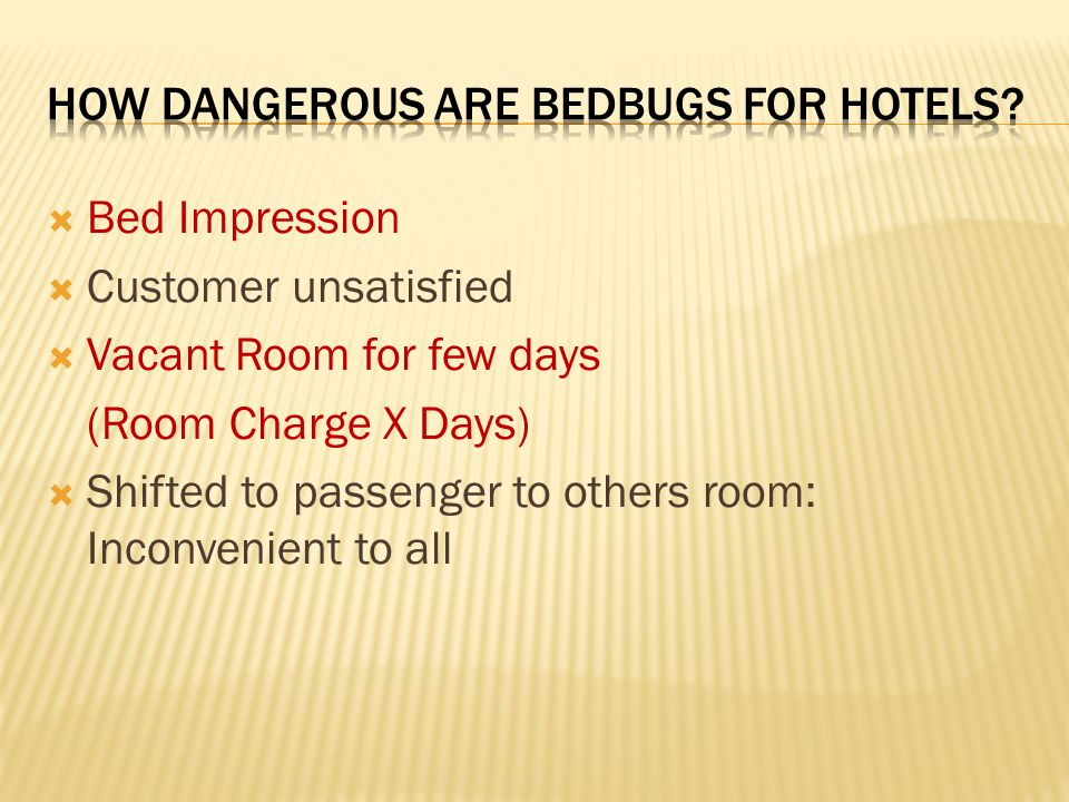  Bed Impression  Customer unsatisfied  Vacant Room for few days (Room Charge X Days)  Shifted to passenger to others room: Inconvenient to all