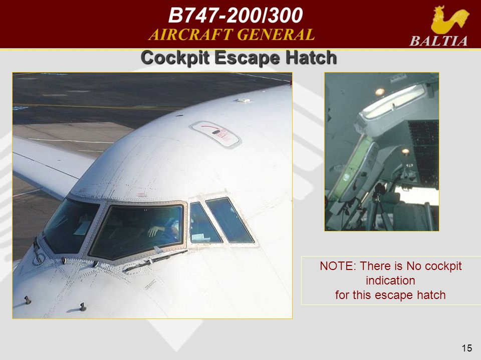 15 Cockpit Escape Hatch NOTE: There is No cockpit indication for this escape hatch