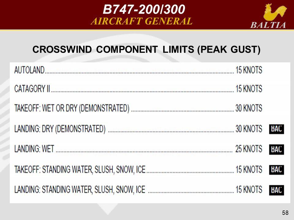 CROSSWIND COMPONENT LIMITS (PEAK GUST) 58