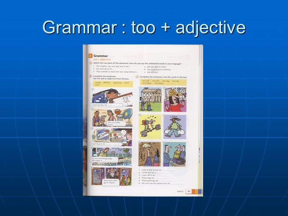 Grammar : too + adjective