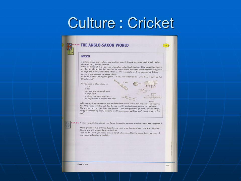 Culture : Cricket