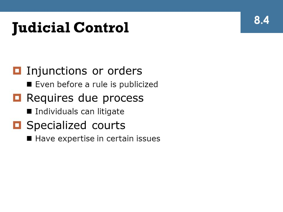 Judicial Control  Injunctions or orders Even before a rule is publicized  Requires due process Individuals can litigate  Specialized courts Have expertise in certain issues 8.4