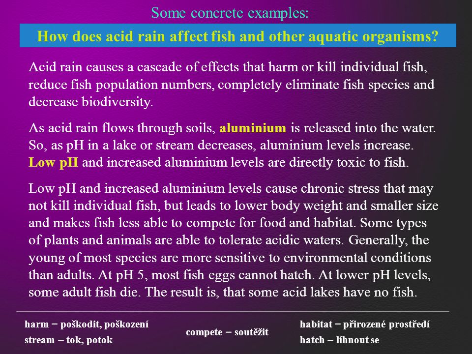 _______________________________________________________ harm = poškodit, poškození Some concrete examples: How does acid rain affect fish and other aquatic organisms.
