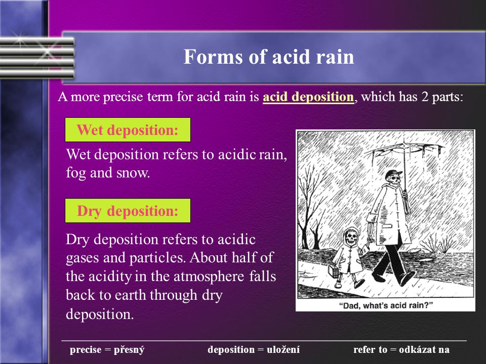 Forms of acid rain A more precise term for acid rain is acid deposition, which has 2 parts: Wet deposition: Dry deposition: __________________________