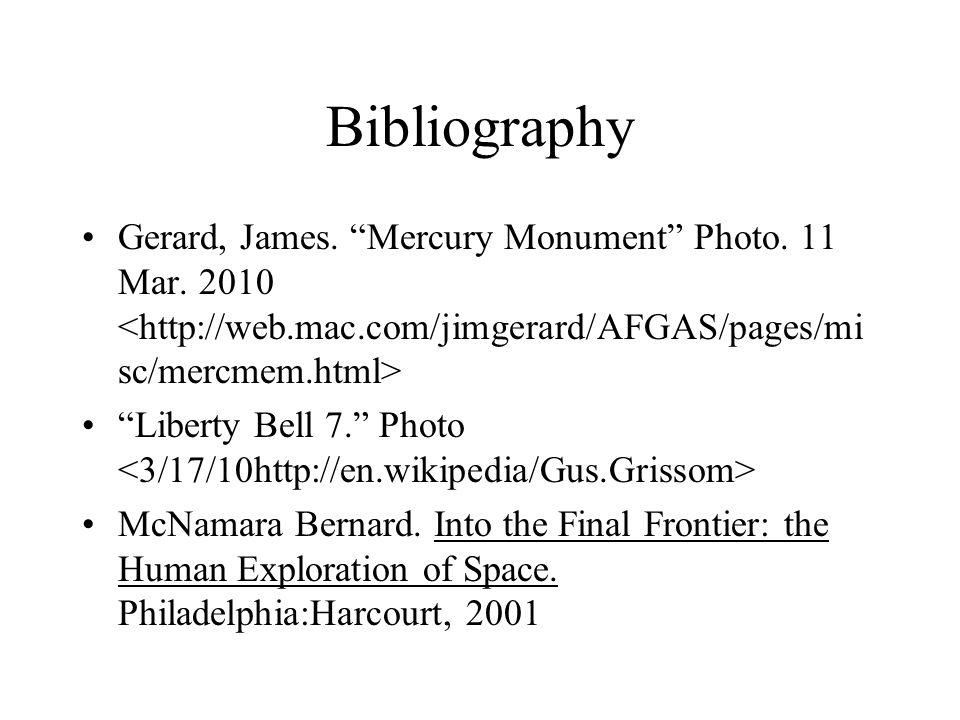 Bibliography Gerard, James. Mercury Monument Photo.