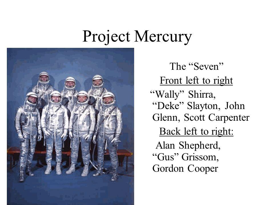 Project Mercury The Seven Front left to right Wally Shirra, Deke Slayton, John Glenn, Scott Carpenter Back left to right: Alan Shepherd, Gus Grissom, Gordon Cooper