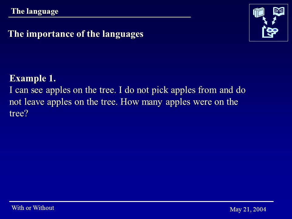 With or Without May 21, 2004 Example 1. I can see apples on the tree. I do not pick apples from and do not leave apples on the tree. How many apples w
