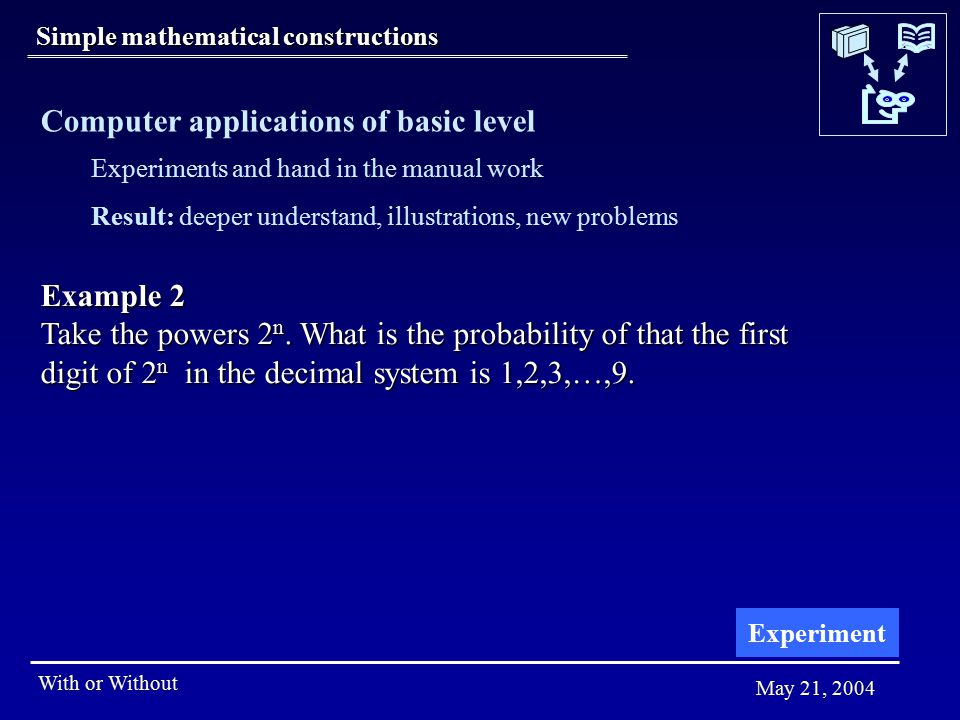 With or Without May 21, 2004 Simple mathematical constructions Example 2 Take the powers 2 n.