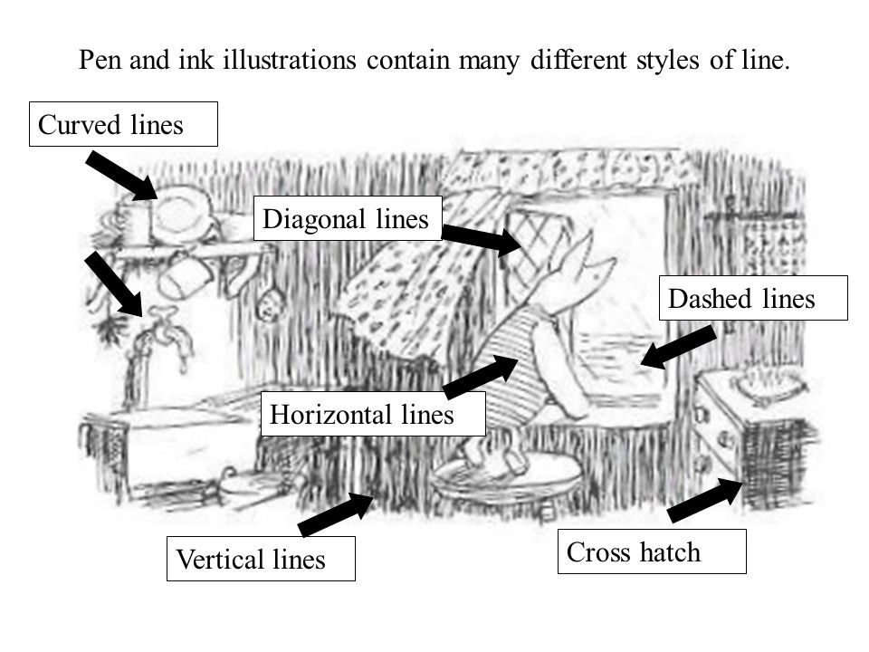 Curved lines Cross hatch Vertical lines Diagonal lines Horizontal lines Dashed lines Pen and ink illustrations contain many different styles of line.