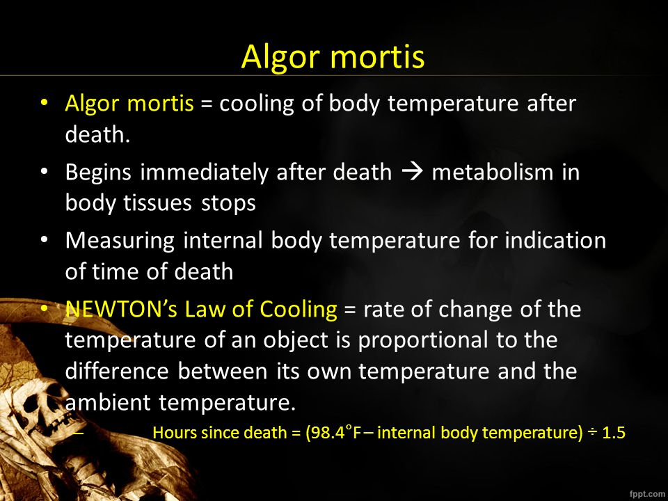 RIGOR MORTIS Stiffening of the muscles due to lactic acid build up after somatic death Muscle cells are still alive, contract, produce stiffening effect Rigor mortis usually occurs about 2-3 hours after death Around 36 hours after the onset of rigor mortis, the body again relaxes and is pliable