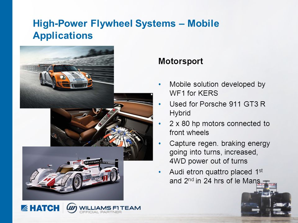 2 04/2012 High-Power Flywheel Systems – Mobile Applications Motorsport Mobile solution developed by WF1 for KERS Used for Porsche 911 GT3 R Hybrid 2 x