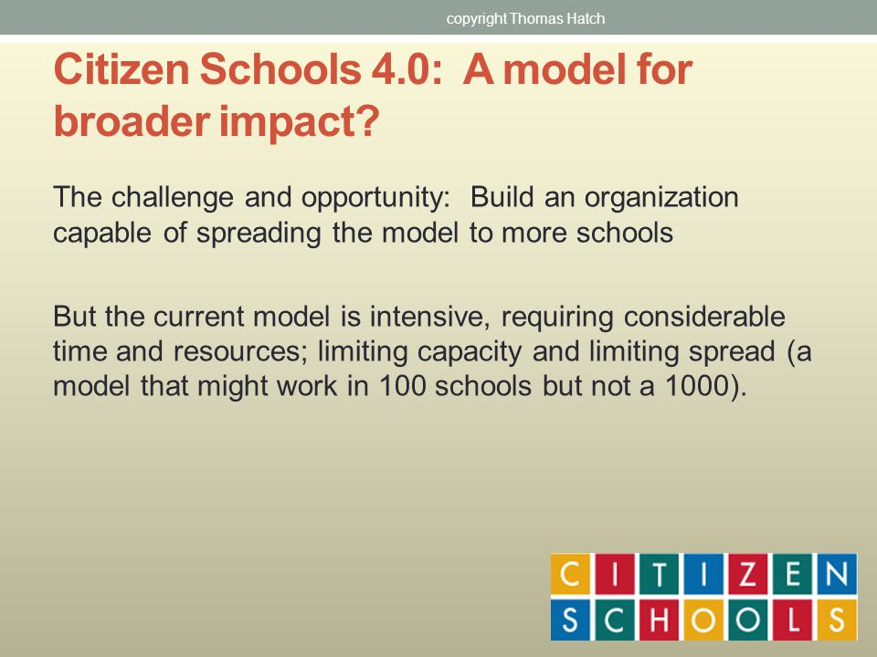 Citizen Schools 4.0: A model for broader impact.