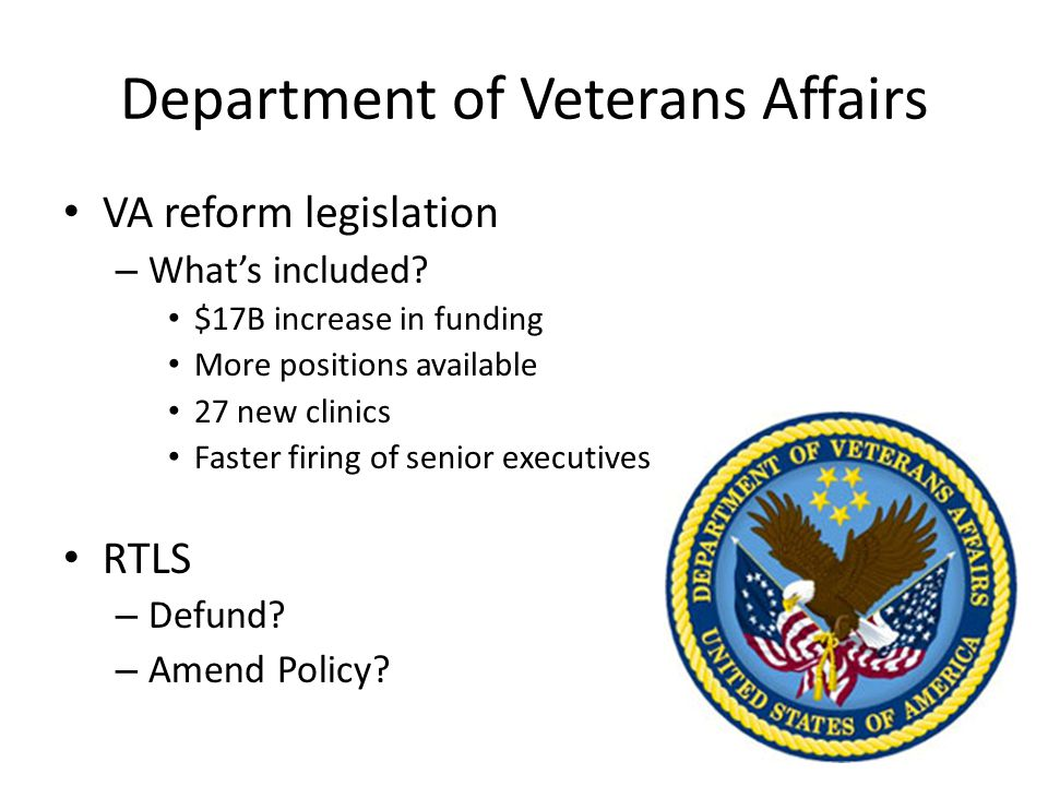Department of Veterans Affairs VA reform legislation – What's included.