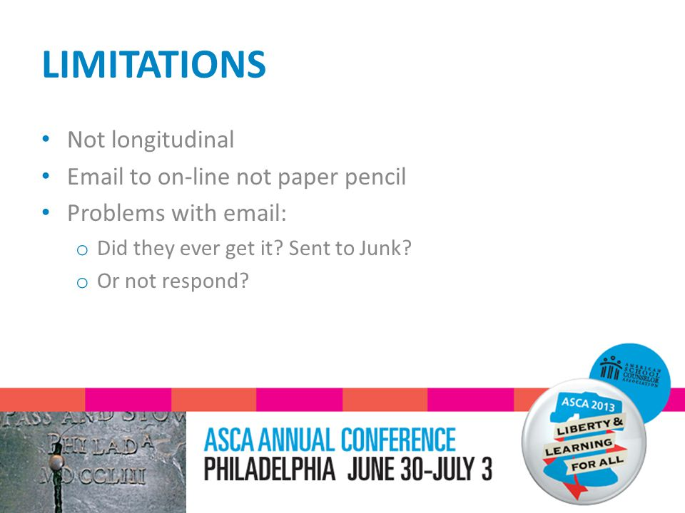 LIMITATIONS Not longitudinal Email to on-line not paper pencil Problems with email: o Did they ever get it.