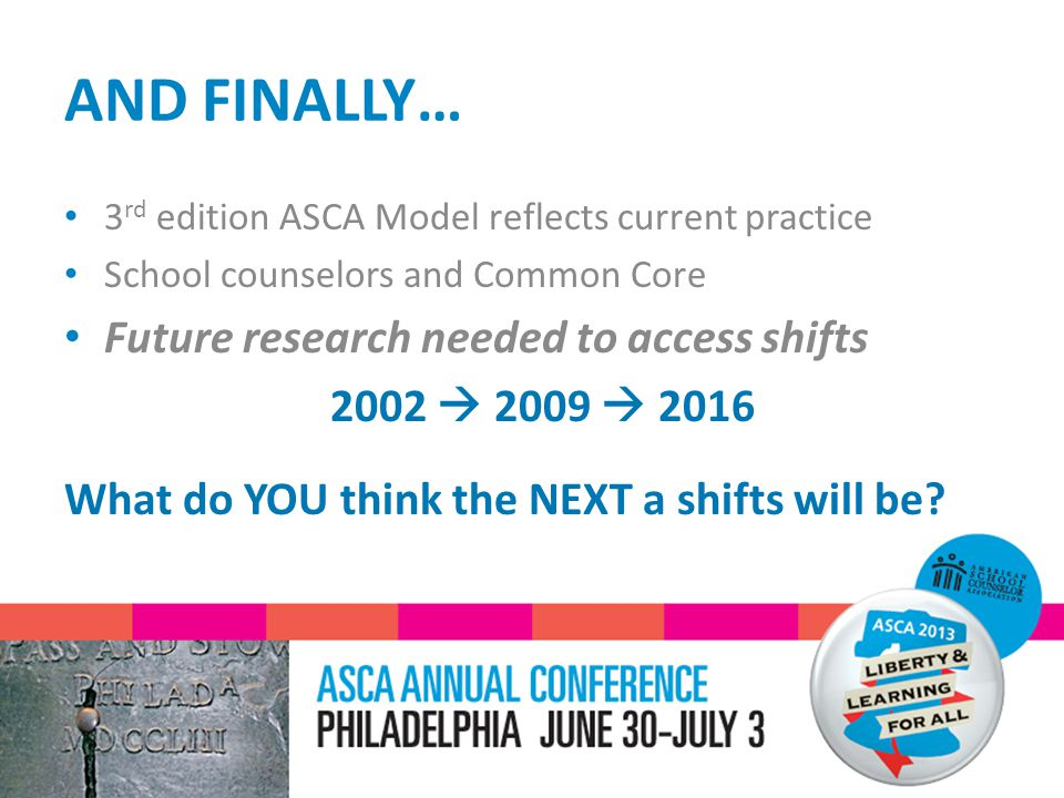 AND FINALLY… 3 rd edition ASCA Model reflects current practice School counselors and Common Core Future research needed to access shifts 2002  2009  2016 What do YOU think the NEXT a shifts will be?