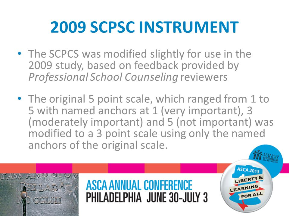 2009 SCPSC INSTRUMENT The SCPCS was modified slightly for use in the 2009 study, based on feedback provided by Professional School Counseling reviewers The original 5 point scale, which ranged from 1 to 5 with named anchors at 1 (very important), 3 (moderately important) and 5 (not important) was modified to a 3 point scale using only the named anchors of the original scale.