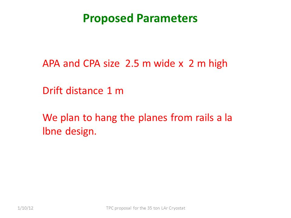 Proposed Parameters TPC proposal for the 35 ton LAr Cryostat1/10/12 APA and CPA size 2.5 m wide x 2 m high Drift distance 1 m We plan to hang the planes from rails a la lbne design.
