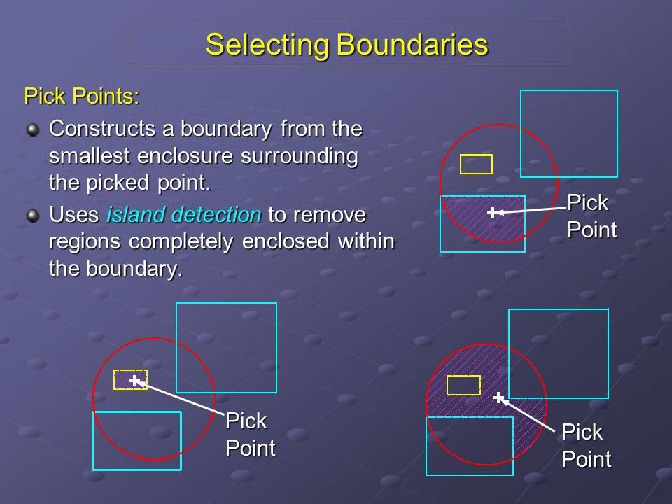 Selecting Boundaries Pick Points: Constructs a boundary from the smallest enclosure surrounding the picked point.