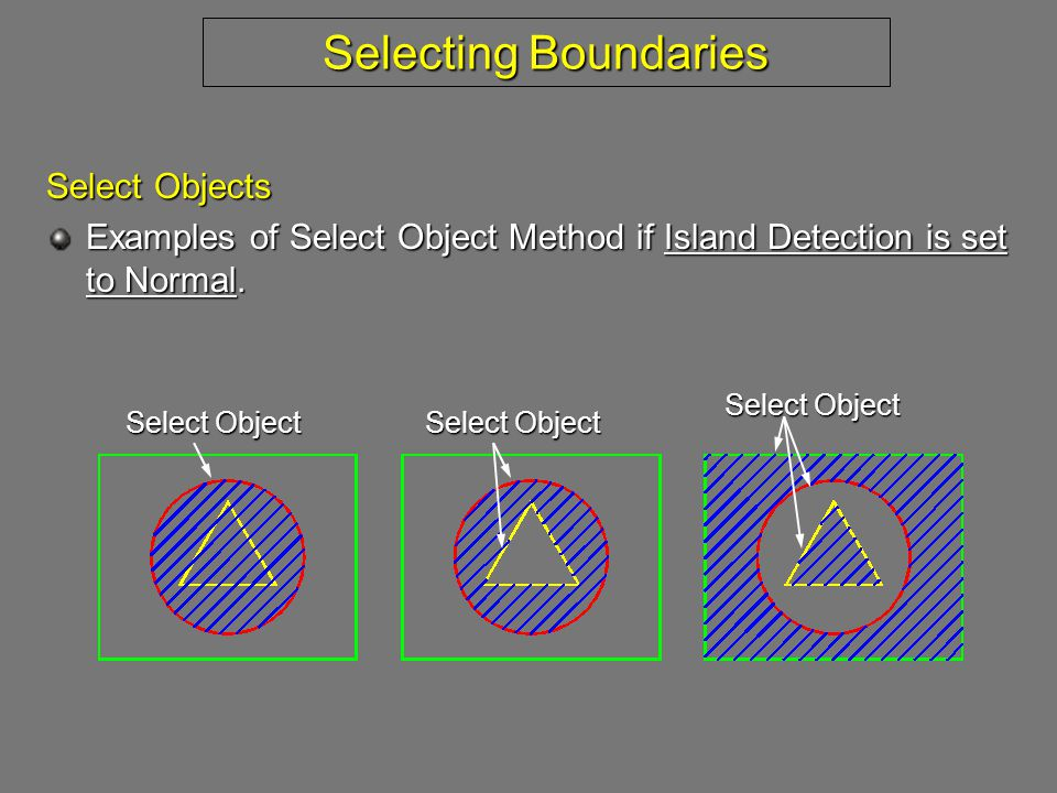 Selecting Boundaries Select Objects Examples of Select Object Method if Island Detection is set to Normal.