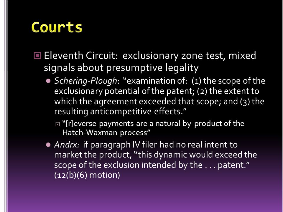 """Eleventh Circuit: exclusionary zone test, mixed signals about presumptive legality Schering-Plough: """"examination of: (1) the scope of the exclusionary"""