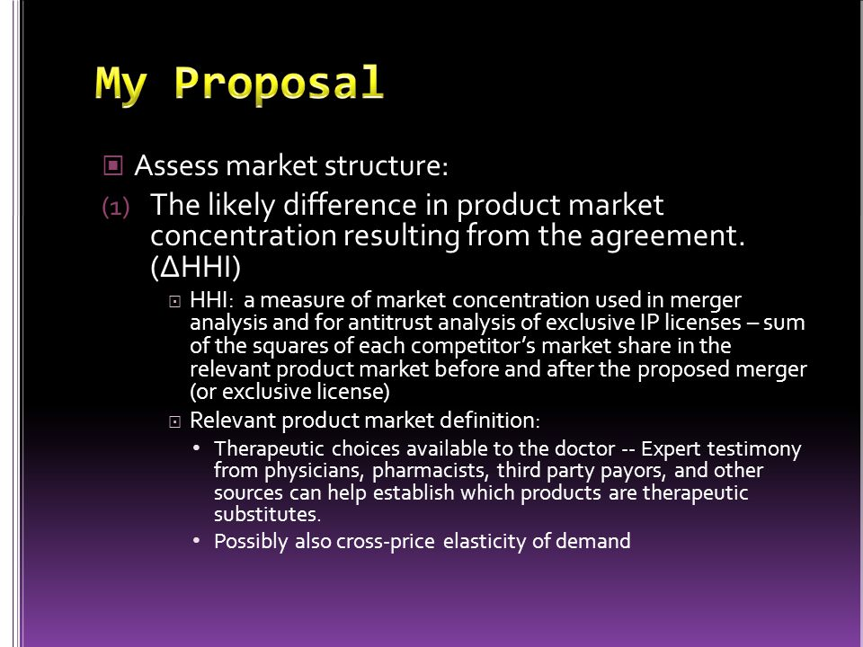 Assess market structure: (1) The likely difference in product market concentration resulting from the agreement.