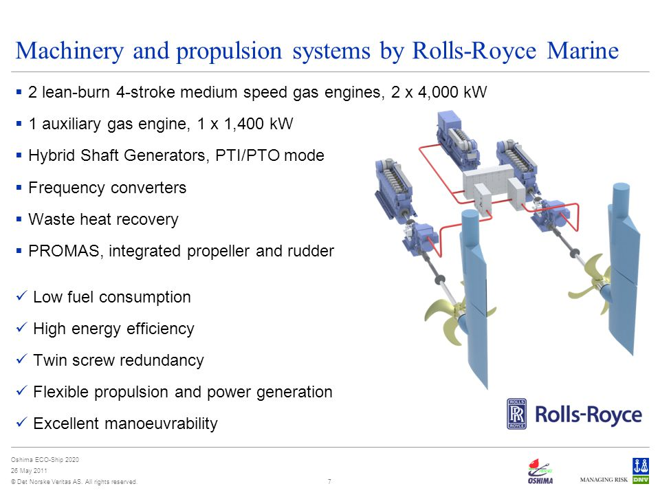 © Det Norske Veritas AS. All rights reserved. Oshima ECO-Ship 2020 26 May 2011 7 Machinery and propulsion systems by Rolls-Royce Marine  2 lean-burn