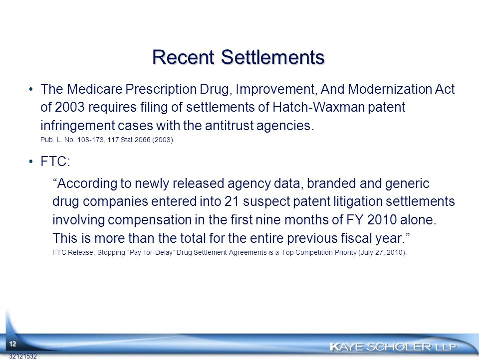 Recent Settlements The Medicare Prescription Drug, Improvement, And Modernization Act of 2003 requires filing of settlements of Hatch-Waxman patent infringement cases with the antitrust agencies.
