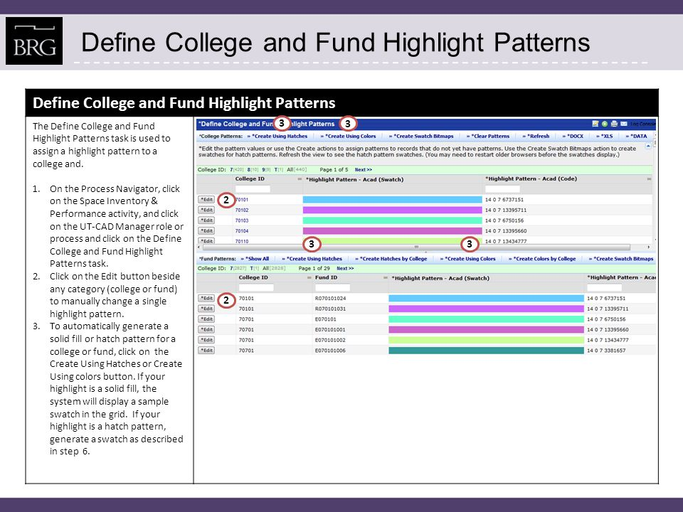 Define College and Fund Highlight Patterns The Define College and Fund Highlight Patterns task is used to assign a highlight pattern to a college and.